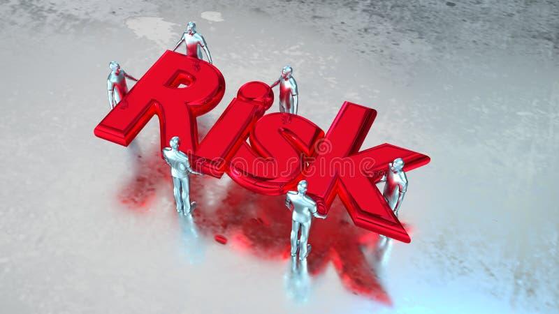 Gruppen för teamwork för riskledning bär risk royaltyfri illustrationer