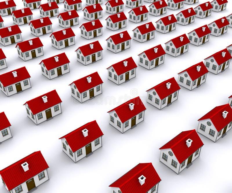 gruppen houses det röda taket stock illustrationer