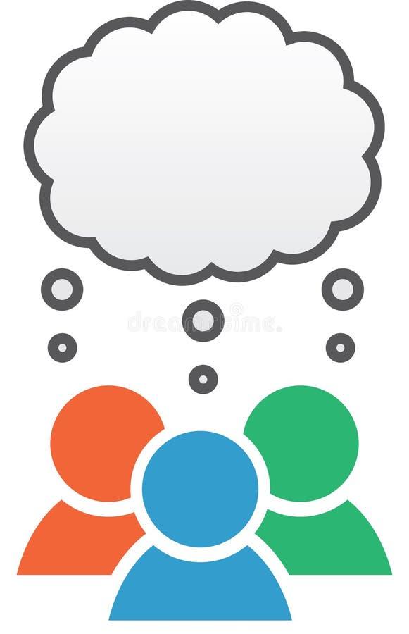 Gruppen-Ikonen-Gedanken-Blasen-Farben stock abbildung