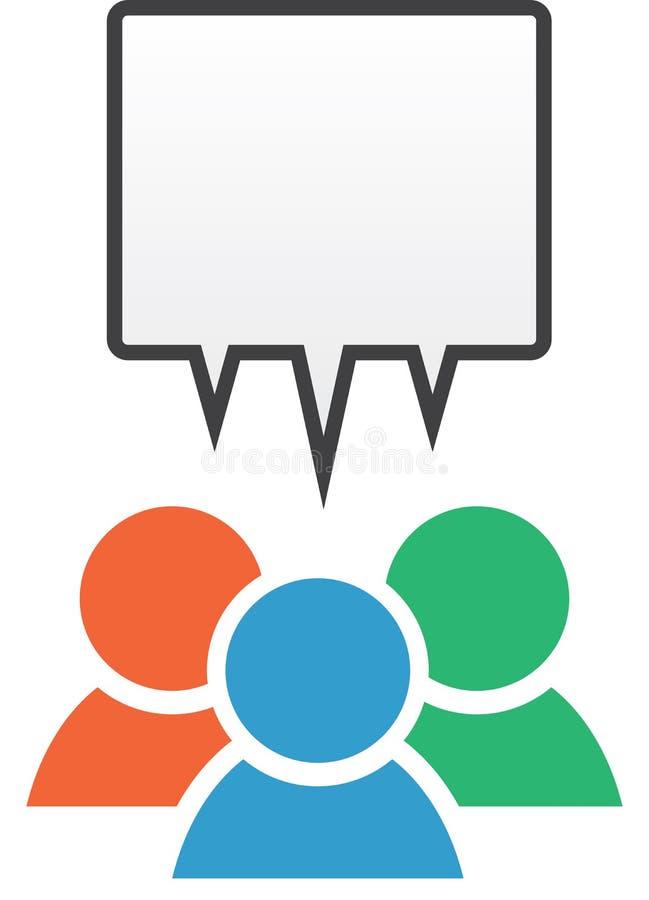 Gruppen-Ikonen-Sprache-Blasen-Farben lizenzfreie abbildung