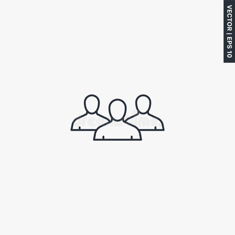 Gruppen-, Linearstil-Zeichen für mobiles Konzept und Webdesign lizenzfreie abbildung
