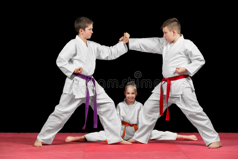 Gruppen lurar karatekampsporter royaltyfria foton