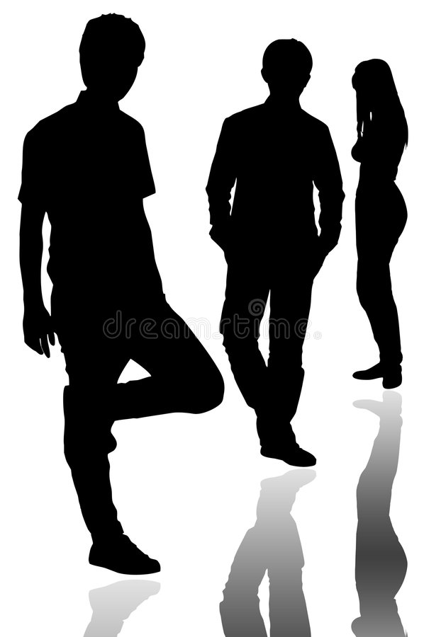 gruppen poserar silhouettestanding royaltyfria foton