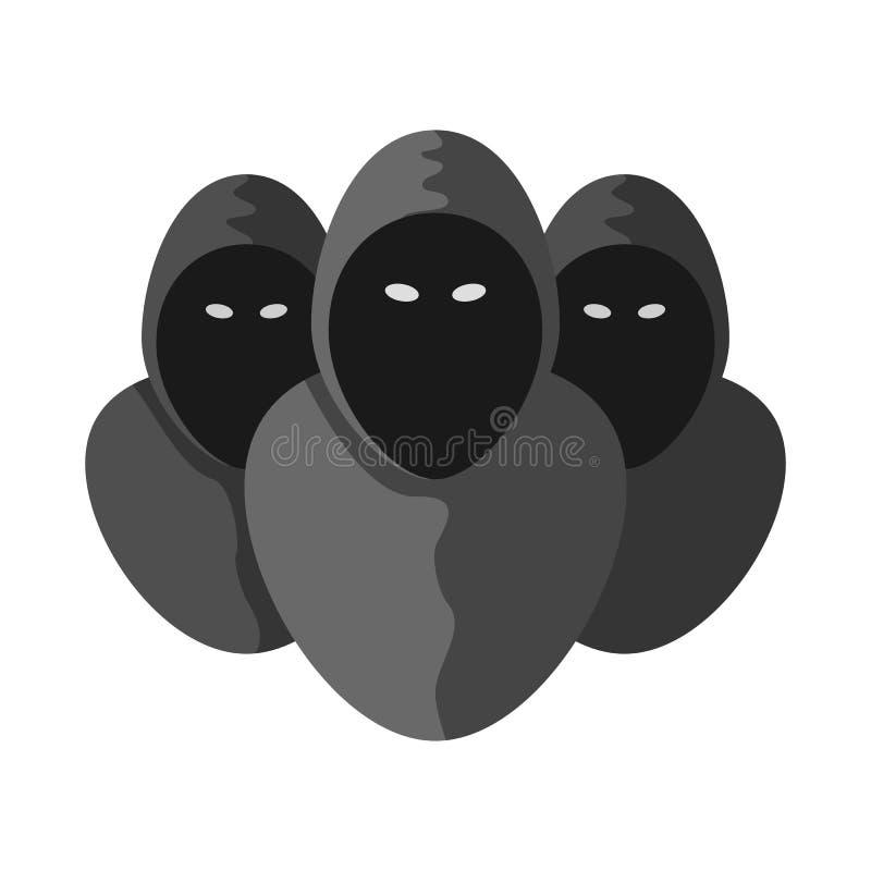 Gruppen-unbekannte Personenikone Anonymes Piktogramm lokalisiert auf weißem Hintergrund Vektorzeichenillustration lizenzfreie abbildung