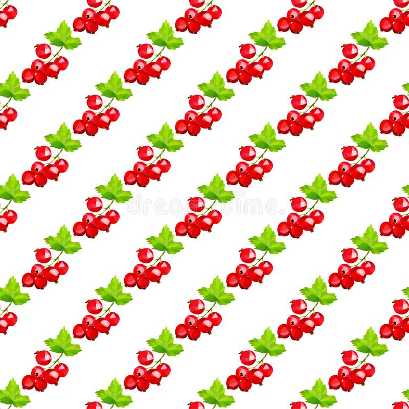 Gruppen von Beeren von roten Johannisbeeren auf einem hellen Hintergrund in einem nahtlosen Muster lizenzfreie abbildung