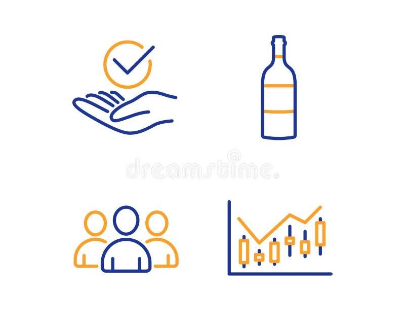 Gruppen-, Weinflasche und anerkannter Ikonensatz Finanzdiagrammzeichen Vektor lizenzfreie abbildung