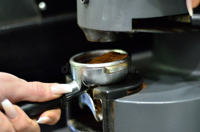 Gruppenanführerkaffeemaschine stockfoto