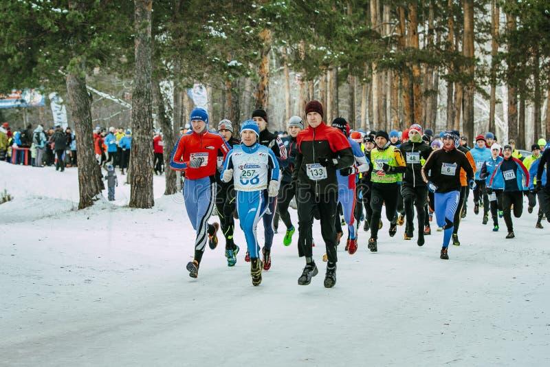 Gruppenathletenanfangsmarathonlauf im Park führende Läufer stockbilder