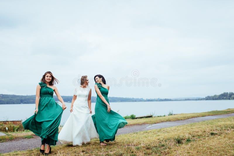 Gruppenbraut-Hochzeitssommer im Freien Ukraine Europa stockfoto