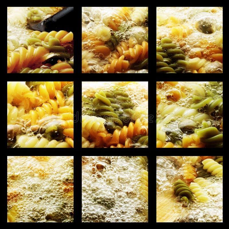 Gruppenfotographien des Kochens der feinschmeckerischen Teigwaren stockfotografie