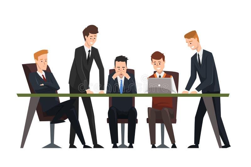 Gruppengeschäftsleute, die im Büro arbeiten Männer kleideten in den klassischen schwarzen Anzügen und in den Bindungen an Behilfl vektor abbildung