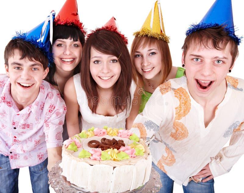 Gruppenleute essen Kuchen. lizenzfreie stockbilder