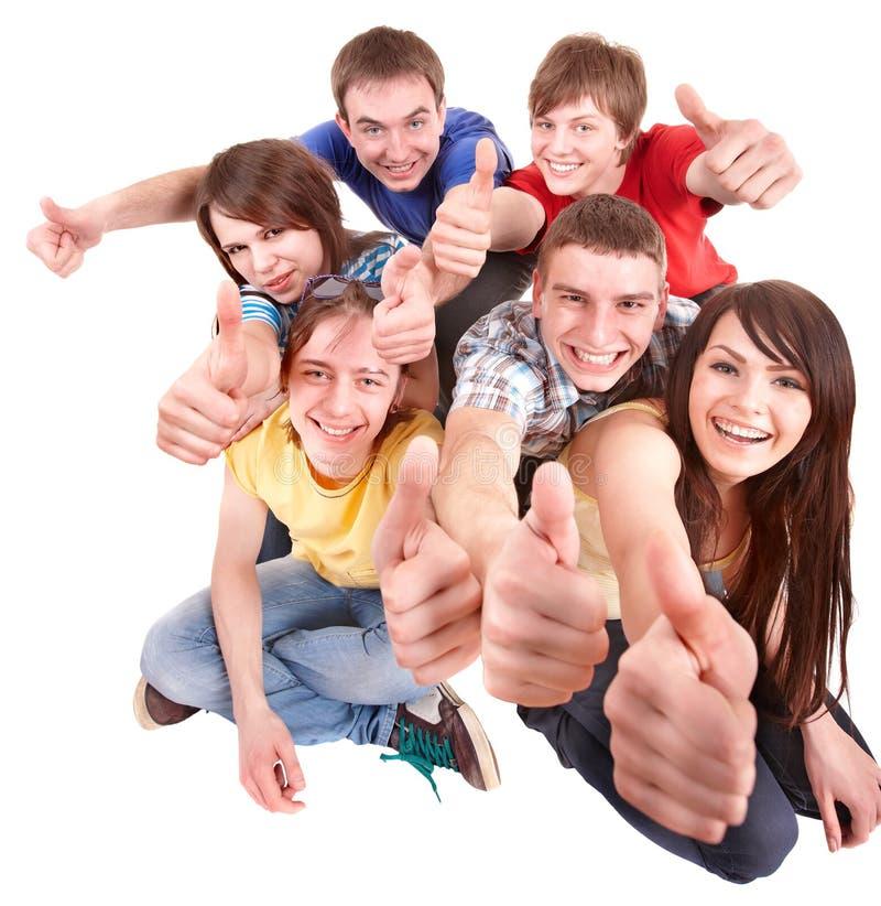 Gruppenleute mit den Daumen oben. lizenzfreie stockfotografie