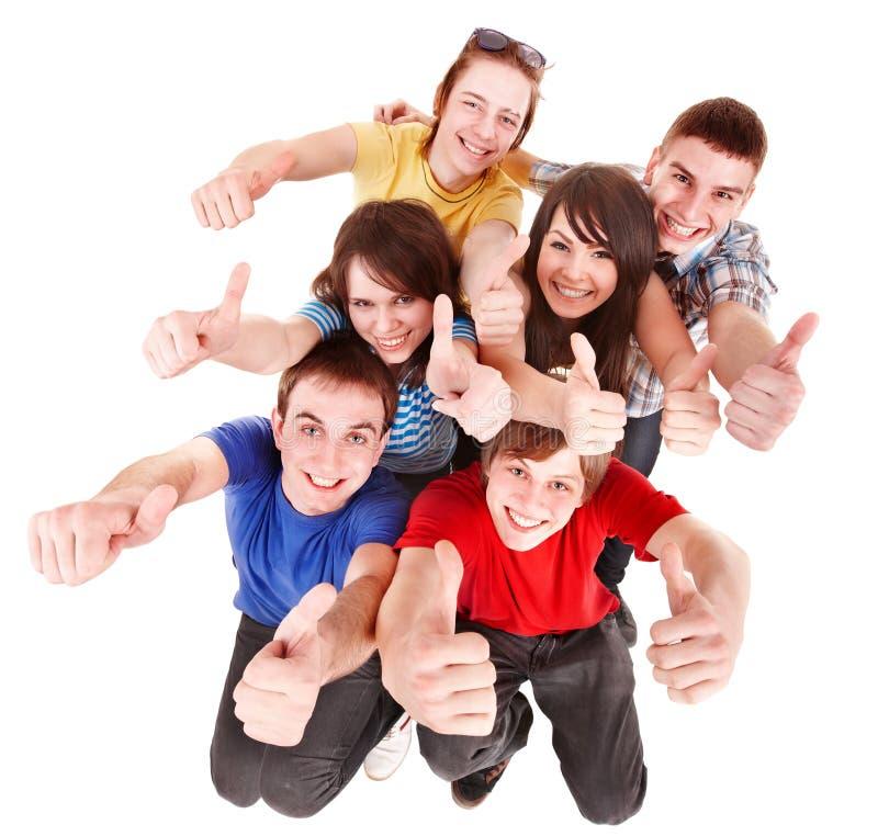 Gruppenleute mit den Daumen oben. lizenzfreies stockfoto