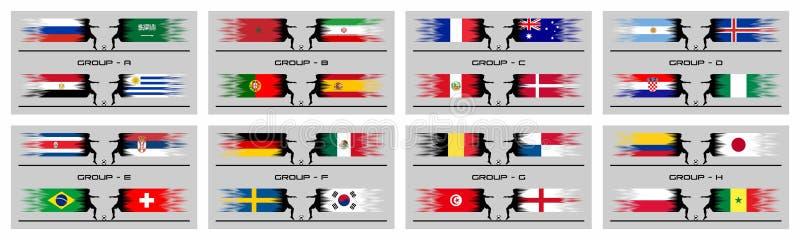 Gruppenphasen des Fußballcups 2018 der internationalen Weltmeisterschaft lizenzfreie abbildung