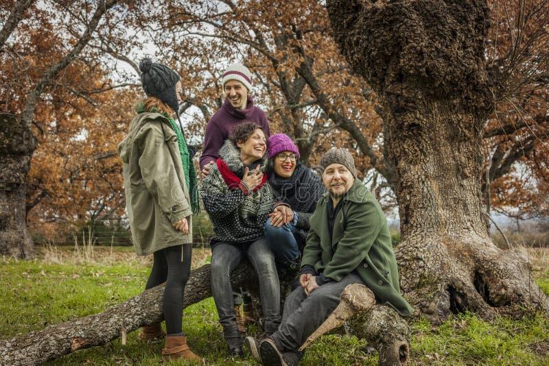 Gruppenporträt der jungen Freundunterhaltung lizenzfreie stockfotografie