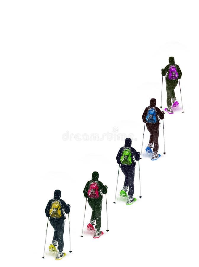 Gruppenschneeschuh stockfoto