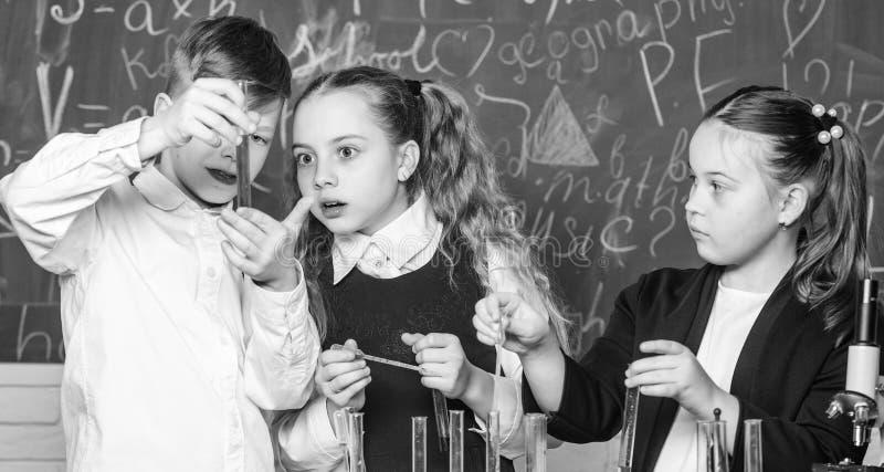 Gruppenschulsch?ler studieren chemische Fl?ssigkeiten Reagenzgl?ser mit bunten Substanzen M?dchen und Jungenstudentenf?hrungsschu lizenzfreie stockbilder
