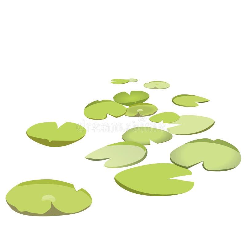 Gruppenvektorseerosen, die auf Oberfläche schwimmen Grün lowpoly waterlily vektor abbildung