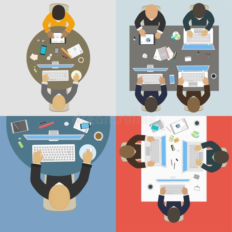 Grupper av affärsfolk som arbetar för kontorsskrivbord royaltyfri illustrationer