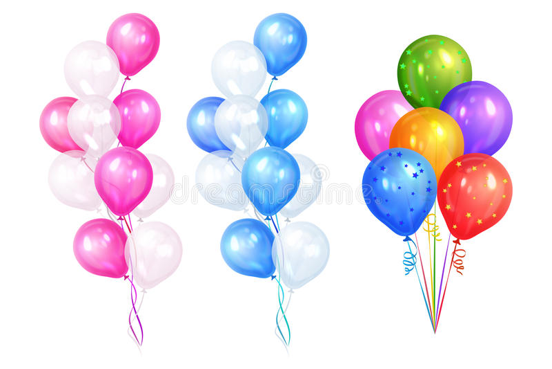 Grupper av färgrika heliumballonger som isoleras på vit bakgrund vektor illustrationer