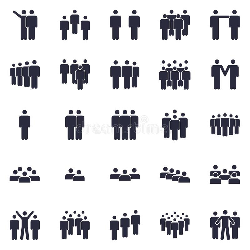 Grupper av personsymbolen Affärslagpersonen, symbolet för kontorsteamworkfolk och arbetsgruppen isolerade kontursymboler royaltyfri illustrationer
