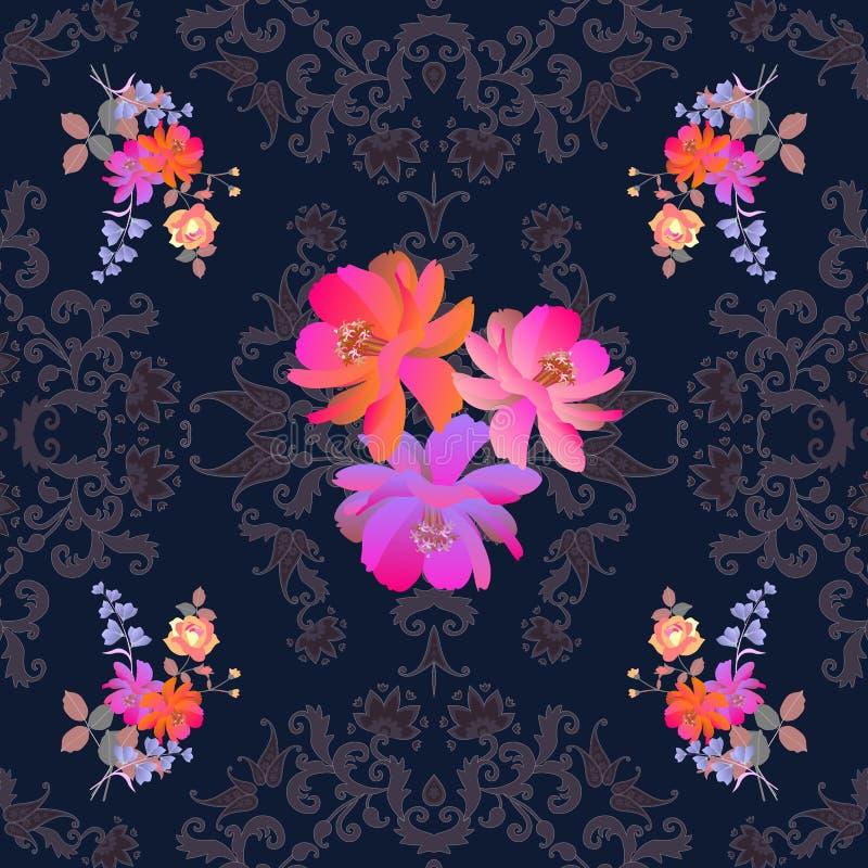 Grupper av trädgårdblommor på mörker snör åt bakgrund Sömlös dekorativ modellwitn paisley Indier perser, turkiska bevekelsegrunde royaltyfri illustrationer