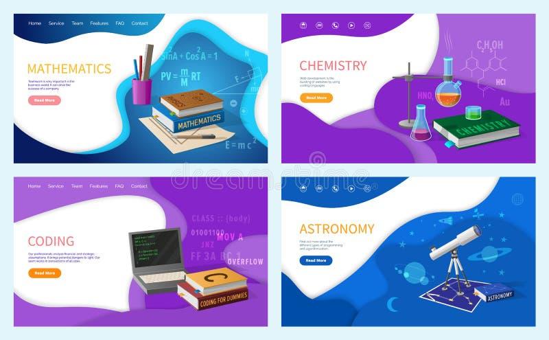 Grupper för för matematikalgebrageometri och astronomi stock illustrationer