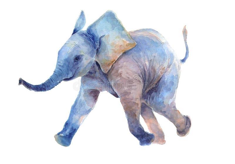 grupper som tecknar spolning f?r vattenf?rg f?r blomningflodtrees Gå behandla som ett barn lite elefanten royaltyfri illustrationer
