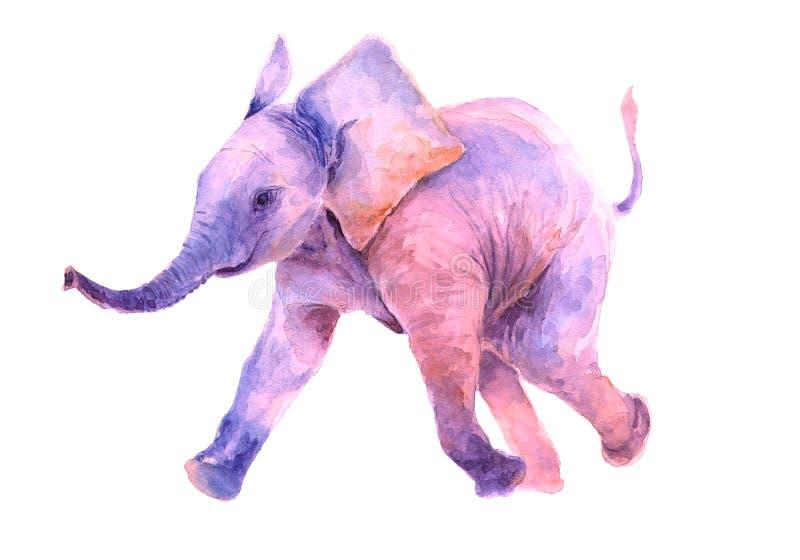 grupper som tecknar spolning f?r vattenf?rg f?r blomningflodtrees Gå rosa färger behandla som ett barn lite elefanten stock illustrationer