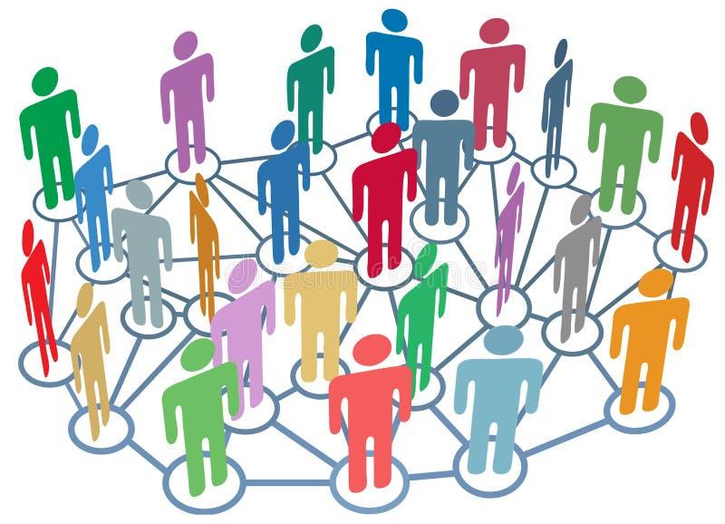 gruppera det sociala samtalet för många medelnätverksfolk vektor illustrationer