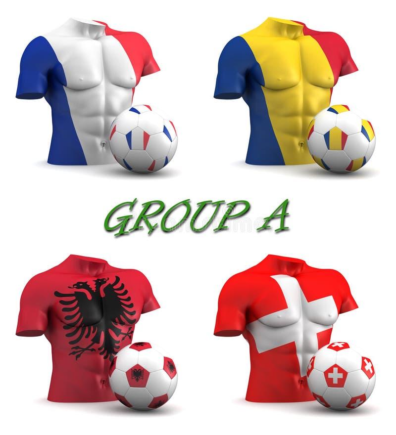 Gruppera en europeisk fotboll 2016 stock illustrationer