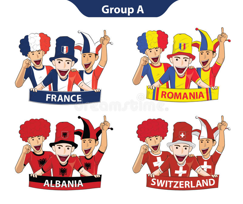 Gruppera ett euro 2016 stock illustrationer