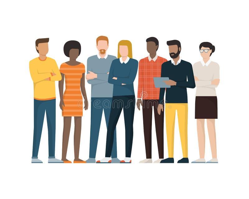 gruppera folk stock illustrationer