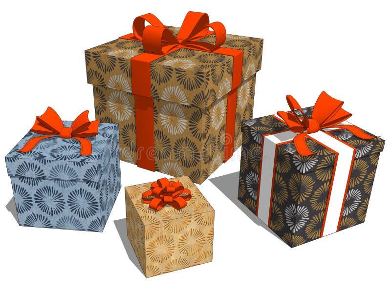 Gruppera gåvor med den dekorativa modellen för blomman för julberöm vektor illustrationer