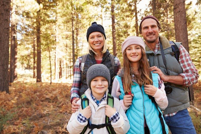 Gruppera ståenden av familjen på vandring i skogen, Kalifornien, USA royaltyfria bilder