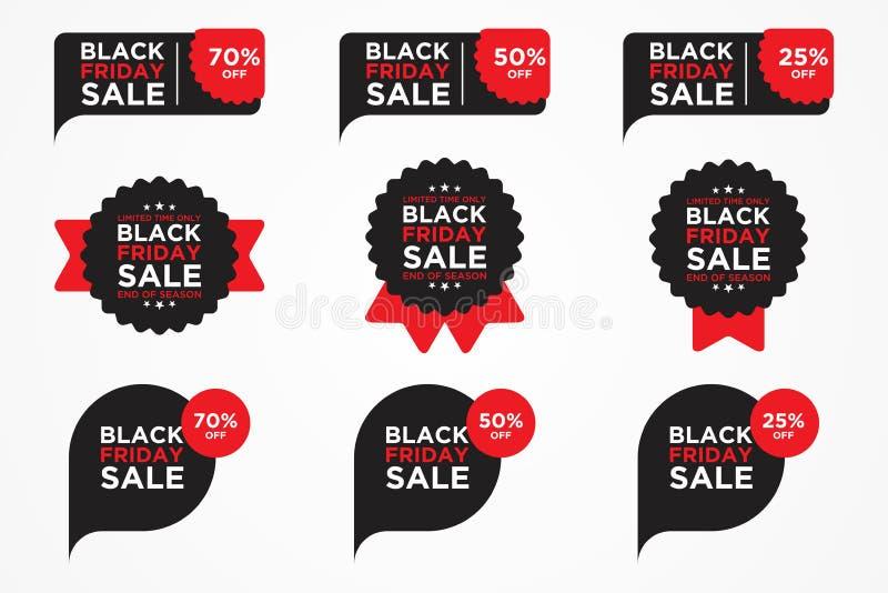Grupperad vektor för Black Friday försäljningsetikett för lätt redigera vektor illustrationer