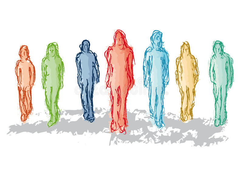 gruppfolk stock illustrationer
