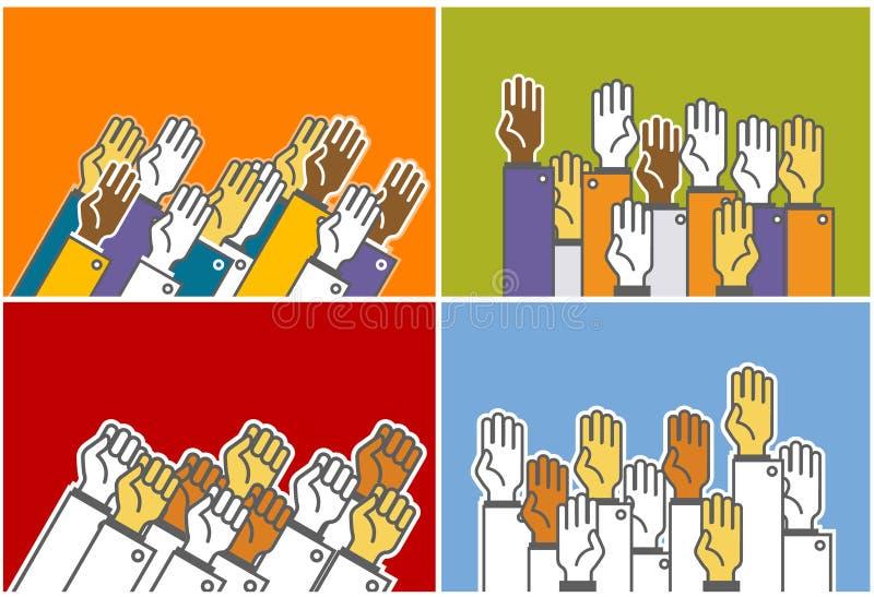gruppfolkröstning royaltyfri illustrationer