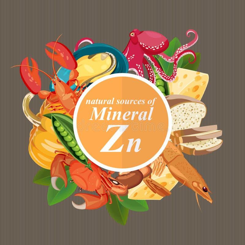 Gruppi di frutta, di verdure, di carne, di pesce sano e di prodotti lattier-caseario che contenente le vitamine specifiche zinco  illustrazione di stock