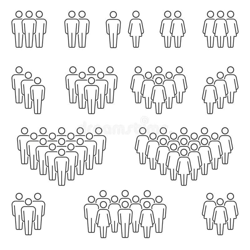 Gruppi di icone delle donne e degli uomini royalty illustrazione gratis
