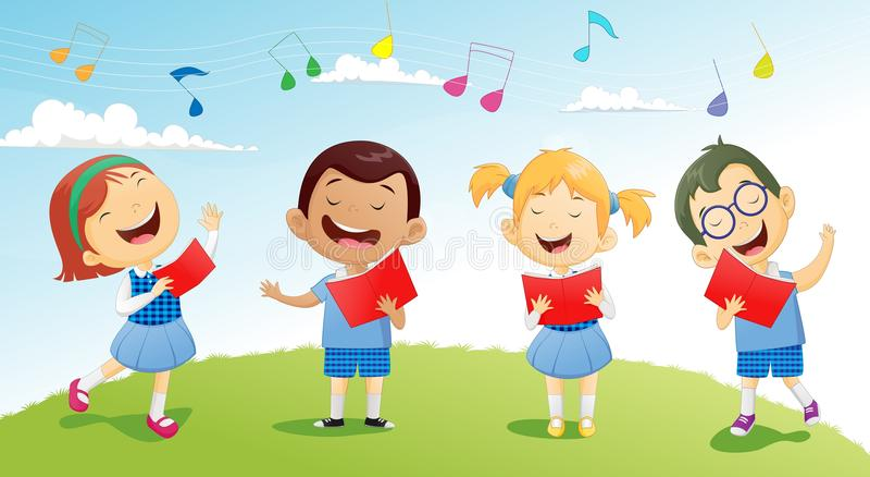 Gruppi di scolari che cantano nel coro royalty illustrazione gratis