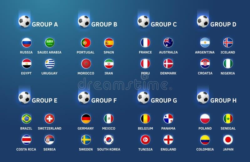 Gruppi e gruppi di campionato della coppa del Mondo di calcio Fondo di vettore royalty illustrazione gratis