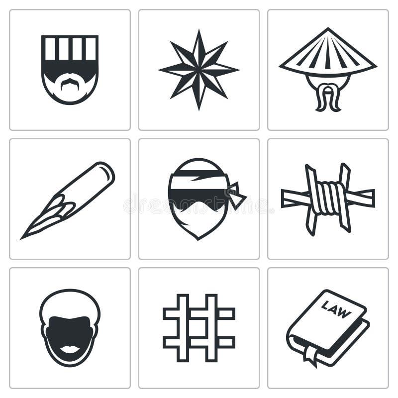 Gruppi razziali criminali nelle icone della prigione messe Illustrazione di vettore illustrazione di stock