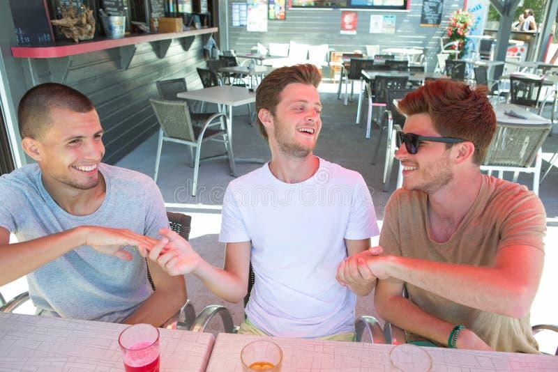 Gruppieren Sie die netten jungen Freunde, die Bier trinken und draußen feiern lizenzfreies stockfoto