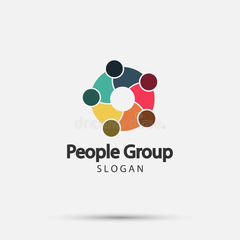 Gruppieren Sie Feuerleute-Logohändedruck in einem Kreis, Teamwork-Ikone Set der lustiger Zeichentrickfilm-Figurfedern und -bleist stock abbildung