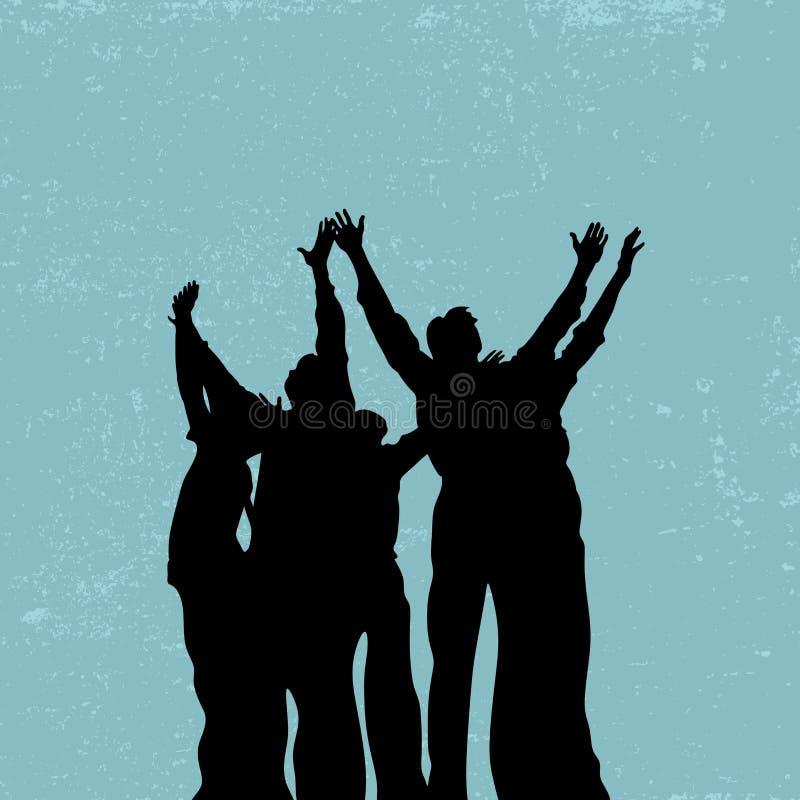 Gruppieren Sie Gebet, angehobene Hände, Lob und Anbetung, Schattenbildleute vektor abbildung