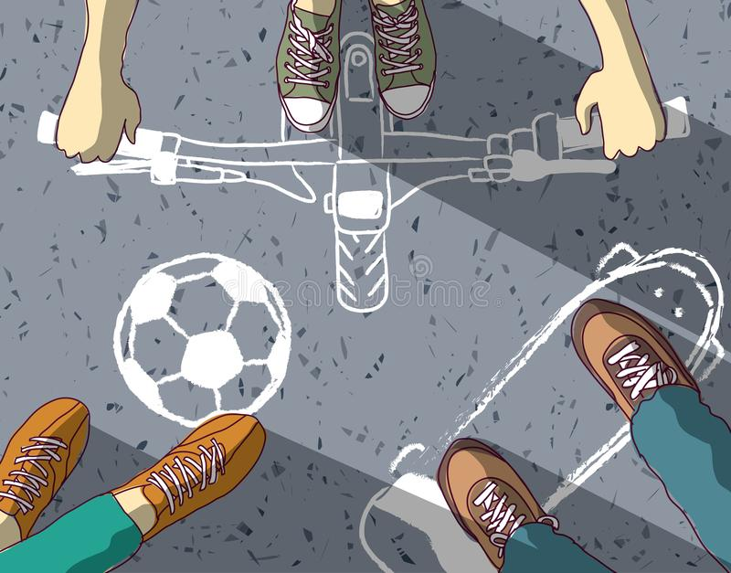 Gruppieren Sie Jugendliche auf gemaltem unterschiedlichem Straßensport des Asphalts Kreide vektor abbildung
