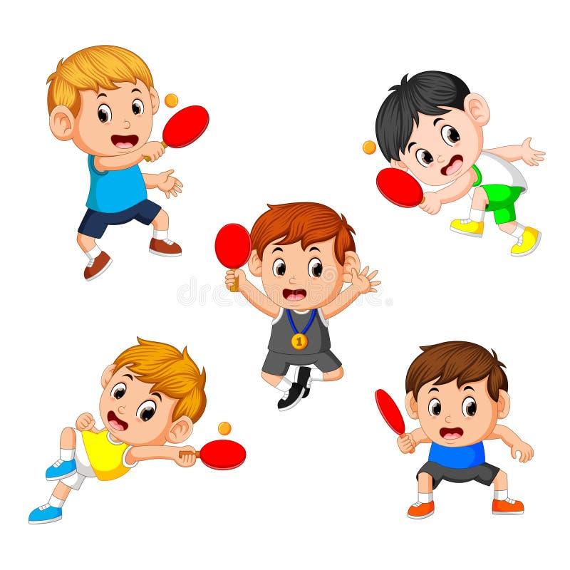 Gruppieren Sie Sammlung verschiedene Positionen des Tennistabellenspielers lizenzfreie abbildung
