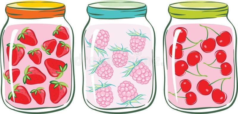 gruppkompottfrukt royaltyfri illustrationer